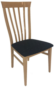 Alf Olga Dining Chair in Birch High Gloss and Black Fabric with Shapes Seat