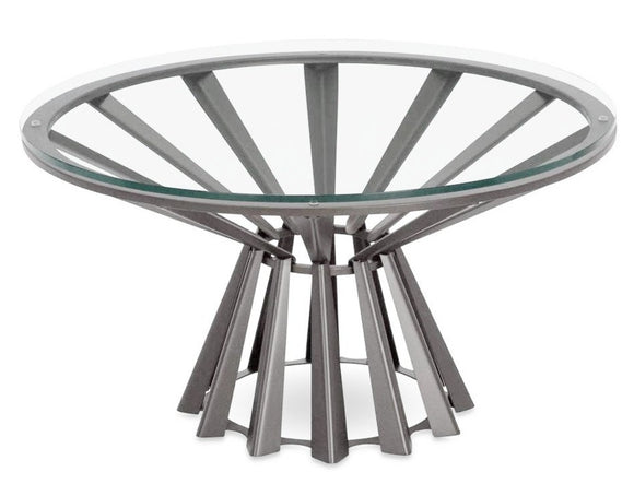 Elite Modern Corona Coffee Table in Glass and Mist Metal