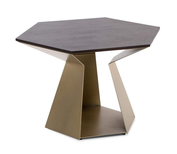 Elite Modern 2054 Poly End Table with a Java Wood Top and Light Brass Base