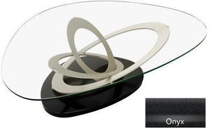 Elite Modern Fusion Coffee Table with a Glass Top, Champagne-Plated Arms, and an Onyx Base