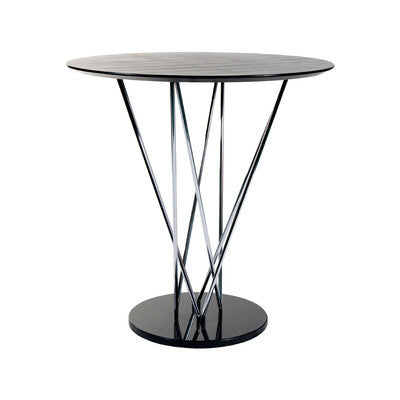 Eurostyle Stacy Bar Table with an Ebony Top, Chrome Legs, and a Black Marble Base