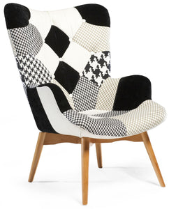 Danform Patch Occasional Chair with Ash Legs and Multi Color Fabric Grey/Black/White