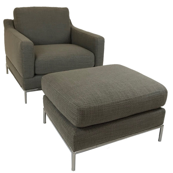 Natuzzi B754 Armchair and Ottoman with a Dove Fabric Seat/Ottoman and Chrome Legs
