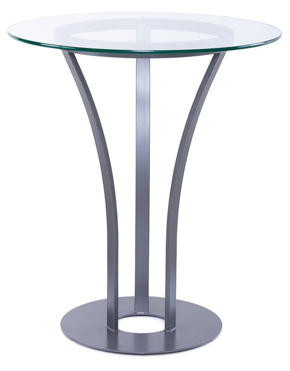 Amisco 50507 Dalia Bar Table with a Glass Top and Magnetite Base