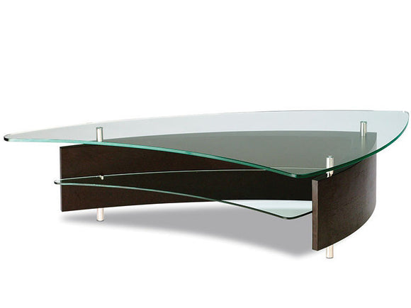 BDI Furniture Fin Coffee Table Espresso Glass