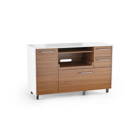 BDI Furniture Format 6320 Satin White Natural Walnut Multifunctional Storage File Cabinet