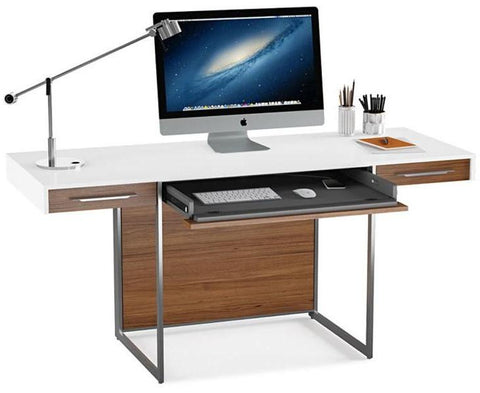 BDI Furniture Format 6301 Satin White Natural Walnut Desk