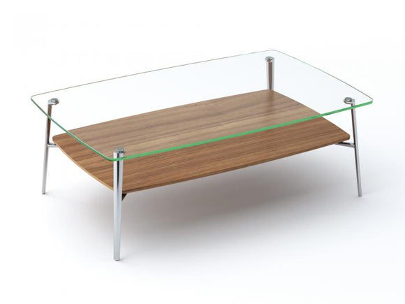 BDI Furniture Tazz Coffee Table Natural Walnut Glass Chrome Legs