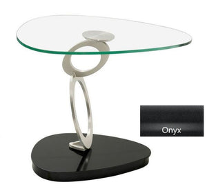 Elite Modern Fusion End Table Onyx; Champagne-Plated; Glass Powder Coat Free form