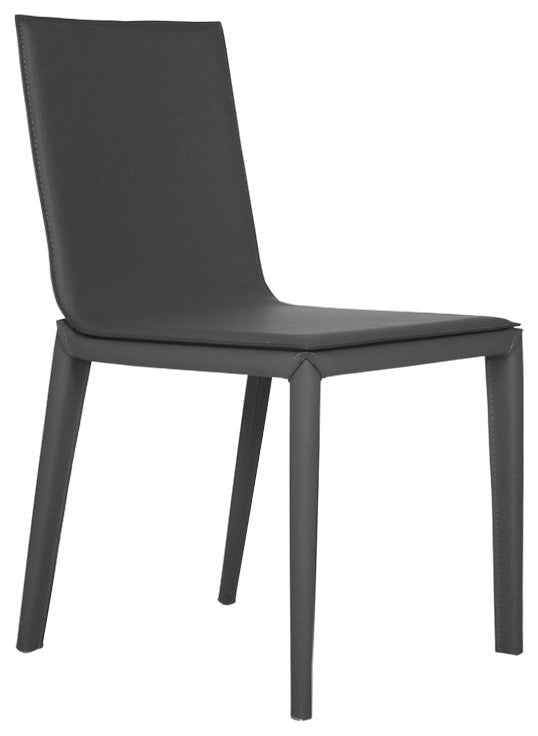 Bellini Cherie Dining Chair in Grey Leather and Leather Legs With Steel Frame Beneath