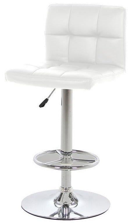 Actona Hot Barstool Height Adjustable Hydraulic White Chrome