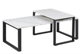 Actona Katrine Coffee Table with a Marble White Top and Black Metal Base
