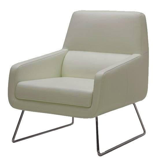 Kuka A759 Occasional Chair with an Off White Leather Seat and Metal Legs