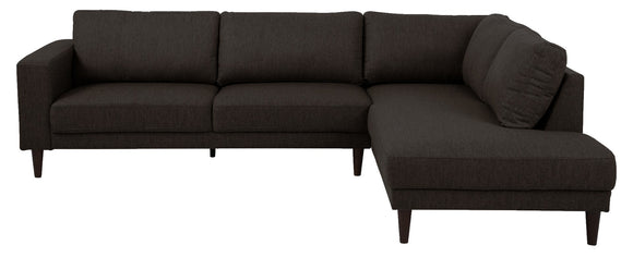 Actona Lancaster Sectional in Dark Brown Fabric and Wood Legs