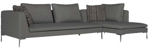 Lazar Pesaro Sectional with Novella Smoke Fabric, Steel Legs, and Three Pillows