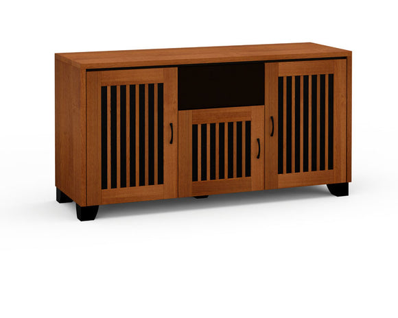Salamander Sonoma 336 TV Stand in American Cherry and Black Micro-Perforated Steel