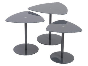 Eurostyle Sarafina Nesting Tables in Grey Glass and Steel