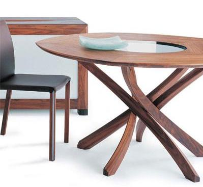 Seltz Fagus Turf EOL Dining Table in Solid Walnut with a Crystal White Glass Center