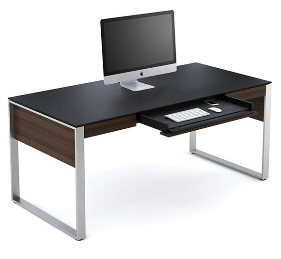 BDI Furniture Sequel Executive Desk 6021 Chocolate Walnut Matte Black Glass