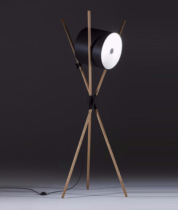 Artisan Bosnia Shift Contemporary Floor Lamp Walnut Black