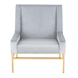 Nuevo HGTB581 Theodore Occasional Chair with a Caribbean Blue Velour Seat and Brushed Gold Stainless Steel Legs