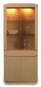 Skovby SM 353 Corner Display Cabinet Glass Teak
