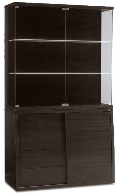 Skovby SM 752 & SM 762 Display Cabinet and Hutch in Wenge and Glass