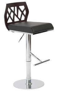 Eurostyle Sophia Barstool in a Wenge Wood Back, Black Leather Seat, and Chrome Base