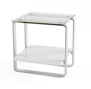 BDI Stream End Table Espresso, Tempered Glass, Satin-Nickel Plated Steel