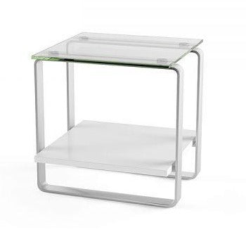 BDI Stream End Table Satin White, Tempered Glass, Satin-Nickel Plated Steel