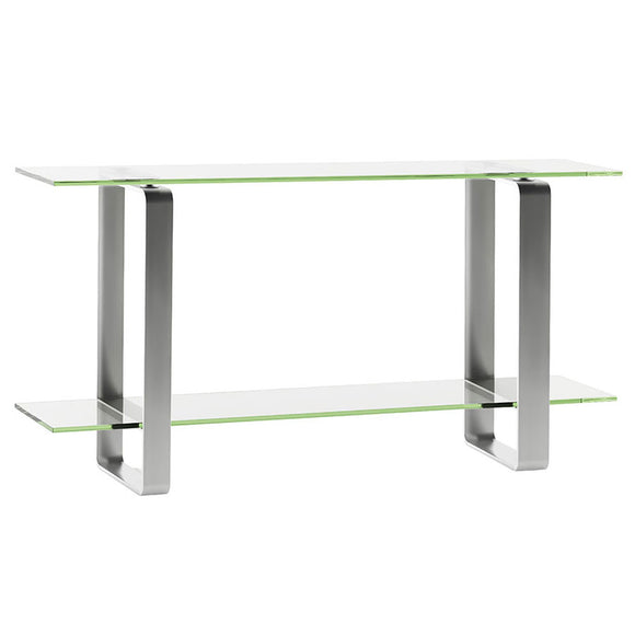 BDI Furniture Stream 1643 Console Table in Clear Glass, Tempered Glass, and Satin-Nickel Plated Steel
