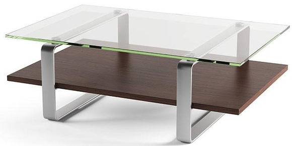 BDI Furniture Stream Coffee Table Charcoal, Tempered Glass, Satin-Nickel Plated Steel