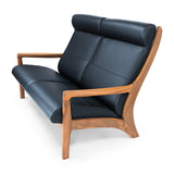 Sun Cabinet JM401 Loveseat in Teak with Black Leather Seat