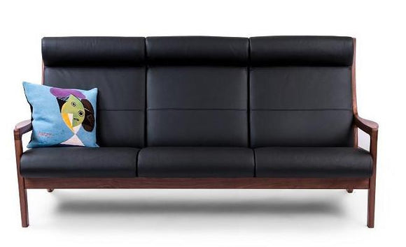 Sun Cabinet JM401 Sofa in Walnut with Black Leather Seat