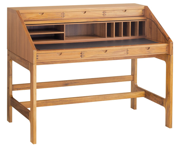 Sun Company JM502 Desk in Teak with Black Leather Writing Surface