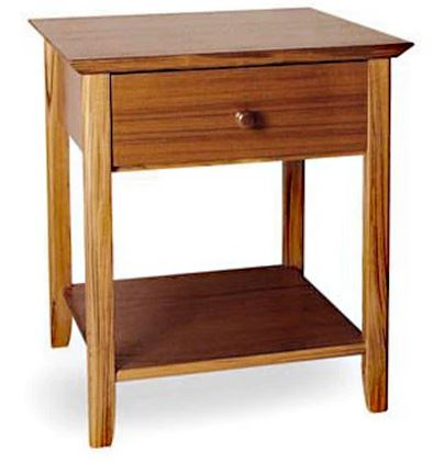 Sun Company 852011 Nightstand with Drawer and Lower Shelf in Teak