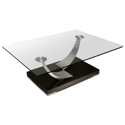 Elite Modern Tangent 265 Coffee Table with a Glass Top, Champagne-Plated Arms, and Java Base