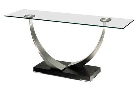 Elite Modern Tangent Console Table Java; Champagne-Plated; Topaz; Glass