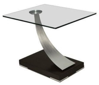 Elite Modern Tangent 265 End Table with a Glass Top, Champagne-Plated Arms, and a Smoke Grey Walnut Veneer Base