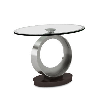 Elite Modern Tao End Table Onyx; Champagne; Glass