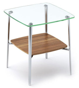BDI Furniture Tazz End Table with Natural Walnut, Tempered Glass, and Metal Legs