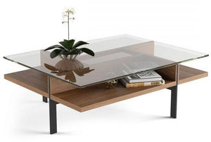 BDI Furniture Terrace Coffee Table 1152 Polished Tempered Glass; Natural Walnut Black Powder Coat Legs