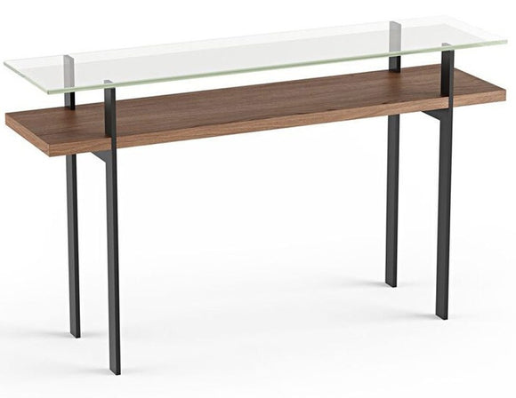 BDI Furniture Terrace Console Table 1153 Polished Tempered Glass; Natural Walnut Black Powder Coat Legs