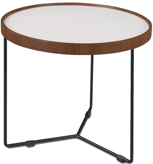 Bellini Tricks End Table in Washed White Glass, Walnut, and Black Steel