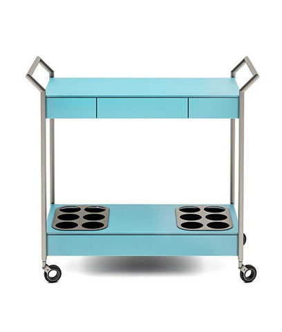 BDI Verra Aqua Tempered Glass Satin Nickel Bar Cart