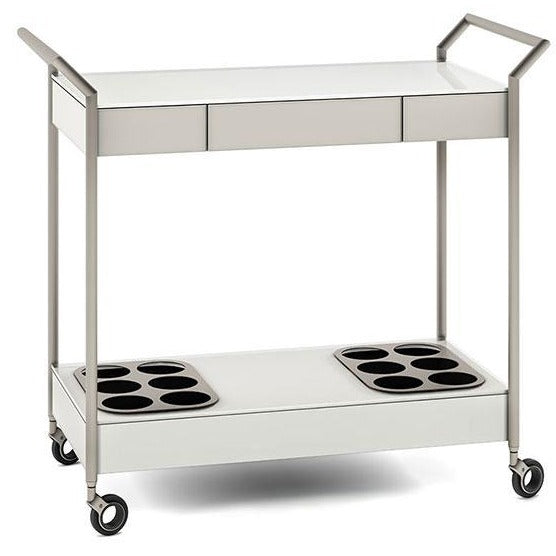 BDI Verra 5640 Bar Cart in Oyster White and Satin Nickel