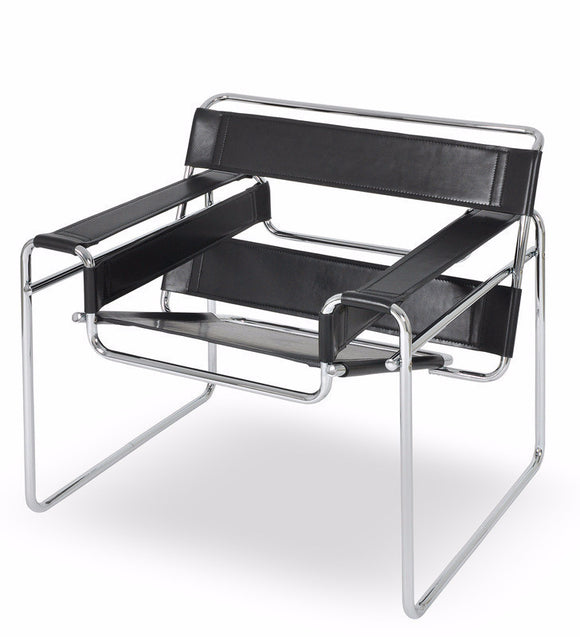 Ital Studio Wally Occasional Chair with a Black Leather Seat and Metal Base