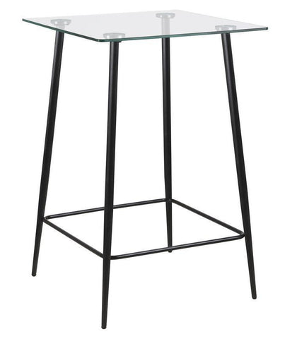 Actona Wilma Black Metal Glass Bar Table