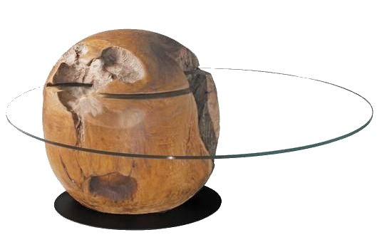 Woodbrook Orb Coffee Table with a Glass Top and a Teak Base