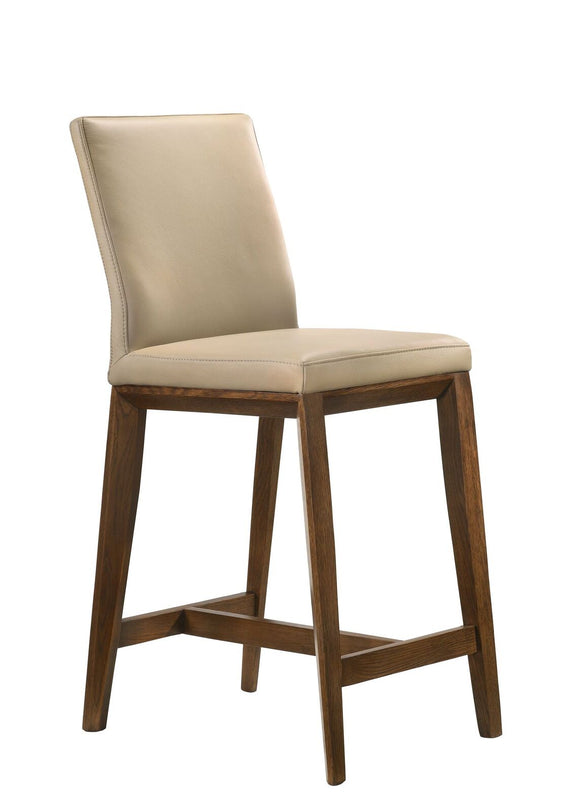 Ital Studio Aarhus Counter Stool in a Mocha Leather Seat and Walnut Stained Oak Legs